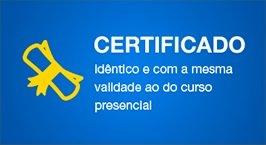 Certificado identico e com mesma validade ao do curso presencial